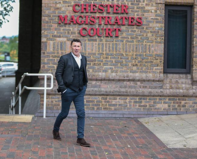 Former Wales international Dean Saunders entering Chester Magistrates Court.