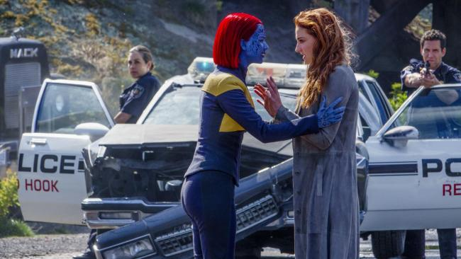 Jennifer Lawrence as Mystique and Sophie Turner as Jean Grey